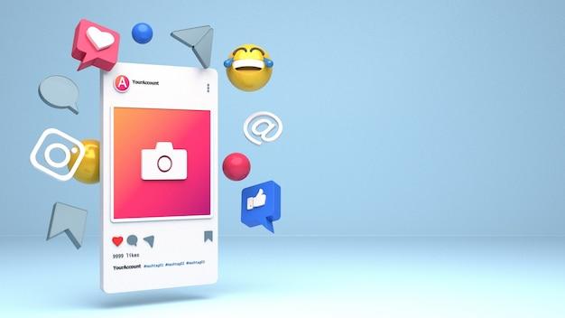 Conception D'illustration De Smartphone 3d Pour Les Profils Instagram Avec Espace De Copie Photo Premium