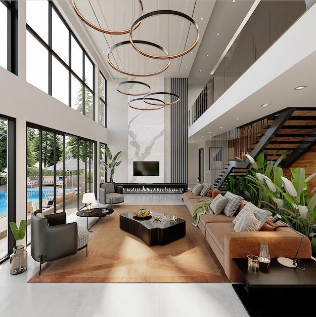 Conception De Maison Moderne Avec Des Meubles, Rendu 3d Photo Premium
