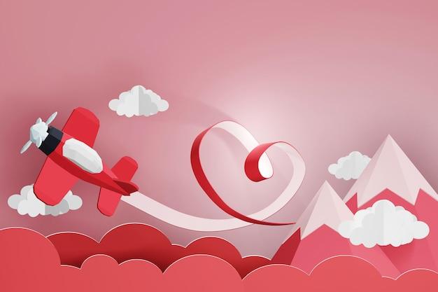 Conception de rendu 3d, ruban coeur avec avion rouge volant dans le ciel. Photo Premium