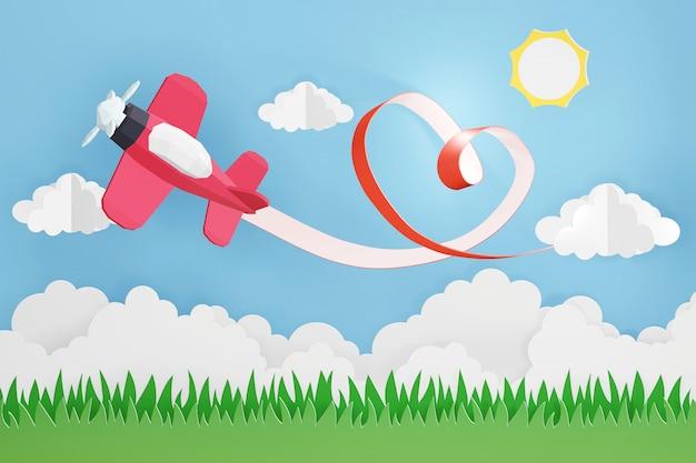 Conception de rendu 3d, style art papier du ruban coeur avec avion rose volant dans le ciel. Photo Premium