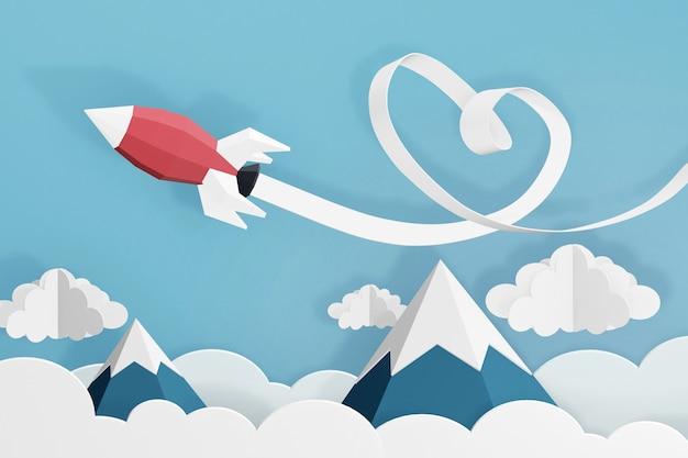 Conception de rendu 3d, style papier d'art de ruban coeur avec lancement de fusée dans le ciel. Photo Premium