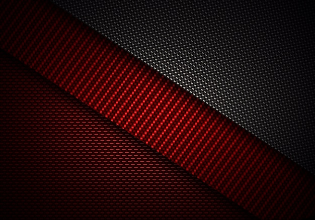 Conception texturée abstraite de fibres de carbone noir rouge Photo Premium