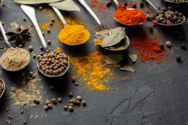 Condiments Indiens High Angle Photo gratuit