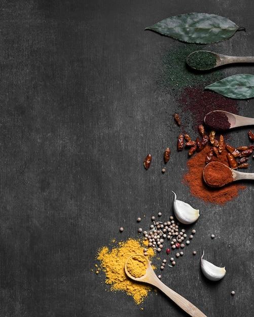 Condiments En Poudre Avec Copie-espace Photo gratuit