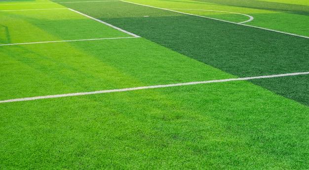 Conner.pattern d'herbe de terrain de football d'herbe verte fraîche pour le football Photo Premium