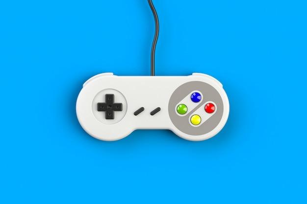 Console de jeux vidéo gamepad. concept de jeu manette rétro vue de dessus isolé, rendu 3d Photo Premium