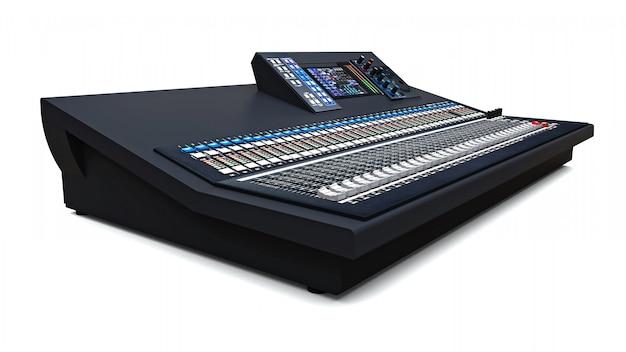 Console De Mixage Grise De Taille Moyenne Pour Le Travail En Studio Et Les Performances Live Sur Un Espace Blanc. Rendu 3d. Photo Premium