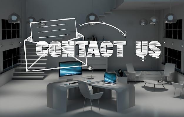 Contactez-nous concept au bureau rendu 3d Photo Premium
