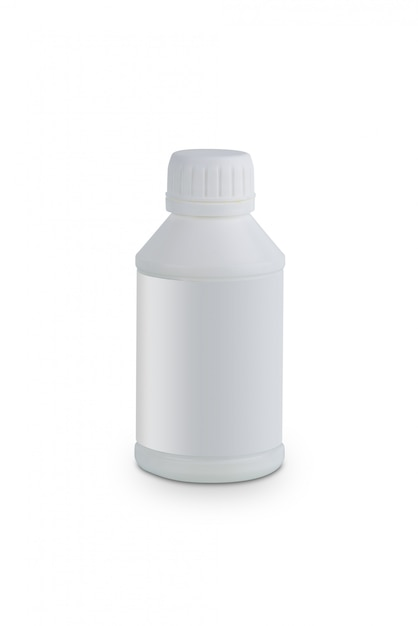 Conteneur en plastique blanc pour huile de produits de traitement moteur isolée on white Photo Premium