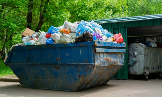 Le conteneur pour la collecte des ordures. sacs en plastique pour les ordures dans le conteneur. Photo Premium