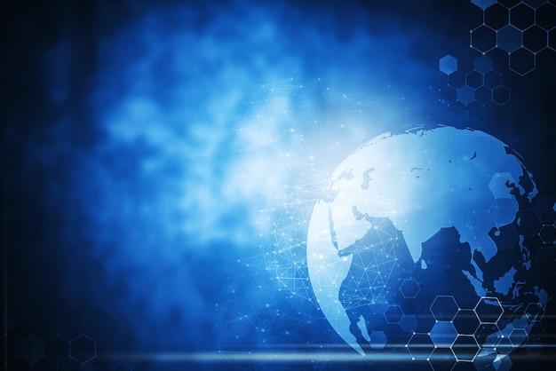 Contexte global de la technologie de connexion réseau sans travail Photo Premium