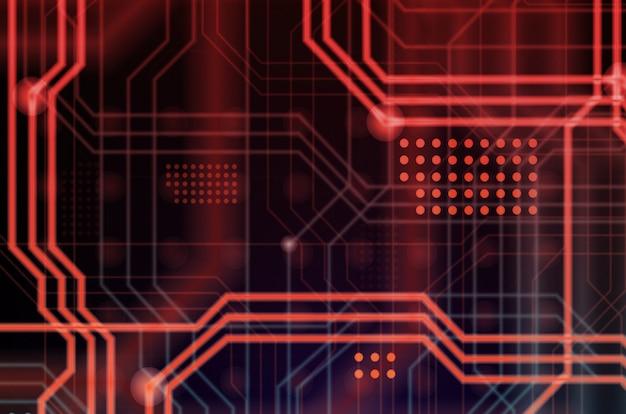 Un contexte technologique abstrait composé d'une multitude de lignes de guidage lumineuses et de points formant une sorte de carte mère physique. couleur rouge et bleu Photo Premium