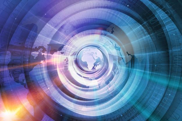 Contexte technologique mondial des connexions internet dans le monde numérique Photo Premium