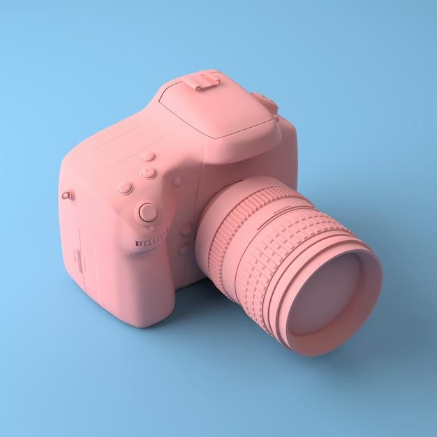 Cool caméra professionnelle sur un fond bleu. tous peints dans une couleur à la mode rose et pastel. Photo Premium
