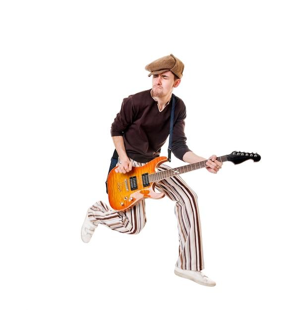 Cool guitariste sur blanc Photo gratuit