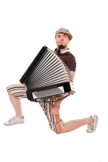 Cool musicien avec accordéon Photo gratuit