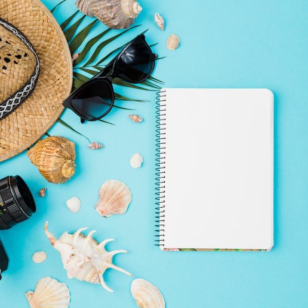 Coquillages et chapeau avec plante près de la caméra et lunettes de soleil avec bloc-notes Photo gratuit