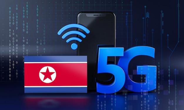 La Corée Du Nord Est Prête Pour Le Concept De Connexion 5g. Fond De Technologie Smartphone De Rendu 3d Photo Premium
