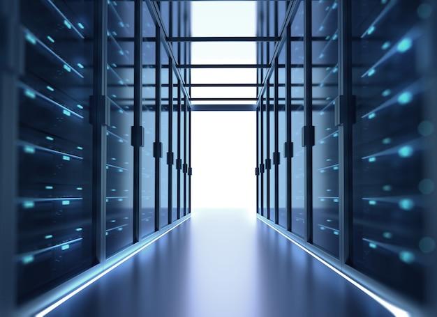 Corridor de la salle des serveurs avec des baies de serveurs dans le centre de données. illustration 3d Photo Premium