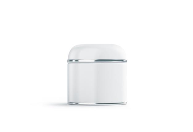 Cosmétique blanc vierge peut se moquer, isolé. maquette de boîte d'esthéticienne vide. Photo Premium