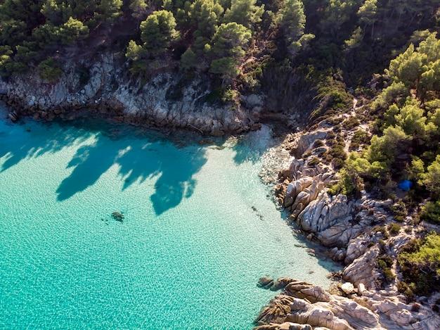 Côte De La Mer égée Avec Eau Transparente Bleue, Verdure Autour, Rochers, Buissons Et Arbres, Vue Depuis Le Drone Grèce Photo gratuit