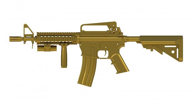 À côté de la vue de fusil d'assaut or ar15 modèle mk18 mod1 isolé sur fond blanc Photo Premium