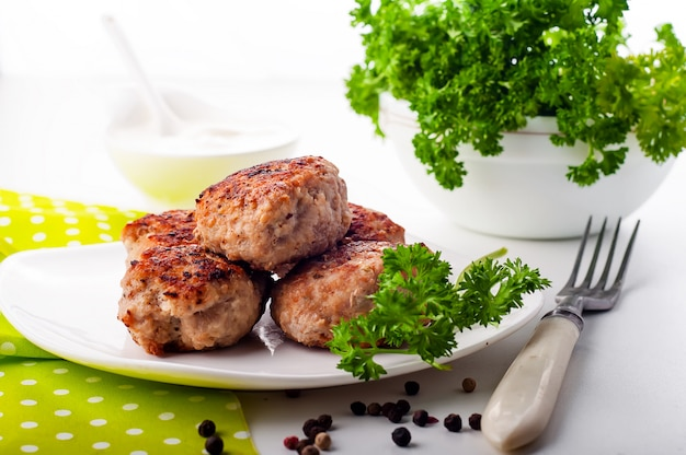 Côtelettes frites maison Photo Premium