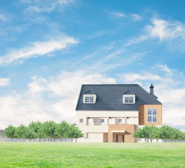 Cottage avec des arbres verts Photo gratuit