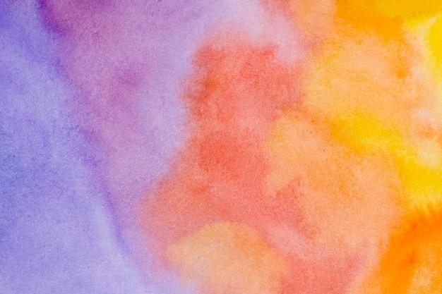 Coucher De Soleil Abstrait Pinceaux Aquarelle Fond Photo Premium