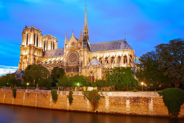 Coucher soleil, cathédrale, dame, à, paris, france Photo Premium