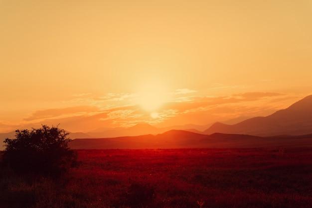 Coucher de soleil doré dans les montagnes Photo Premium