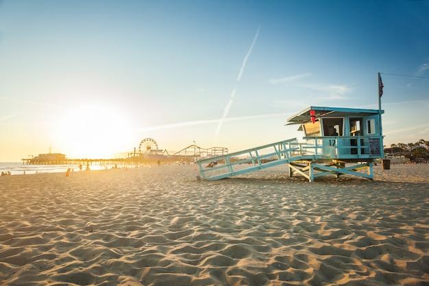 Coucher de soleil à santa monica Photo Premium