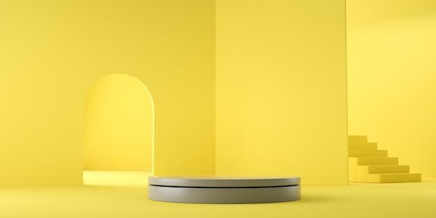 Couleur De L'année 2021. Rendu 3d Géométrique Vide Abstrait Jaune Et Gris Photo Premium
