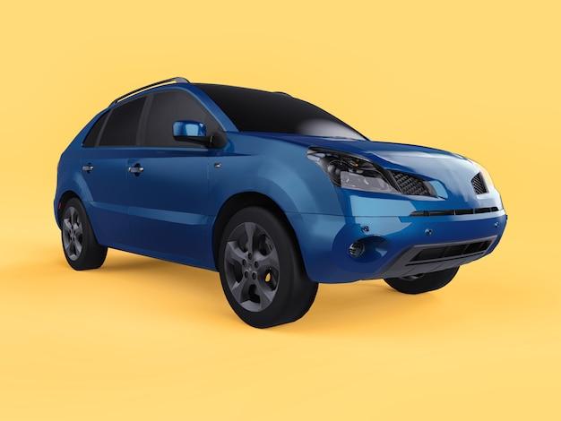 Couleur Bleue Compacte De Croisement De Ville. Vue De Droite Rendu 3d. Photo Premium