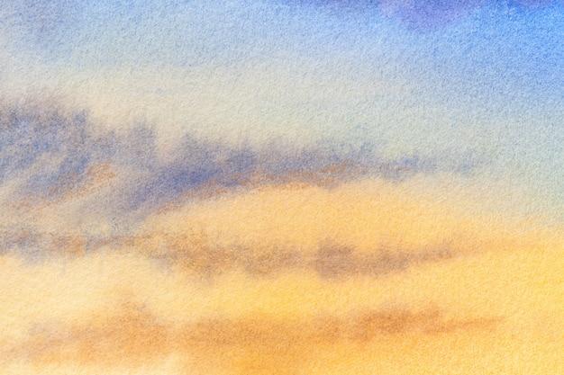 Couleurs bleu et jaune clair d'art abstrait. aquarelle sur toile avec des taches. Photo Premium
