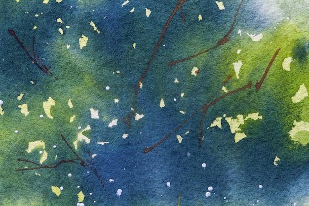 Couleurs bleu et vert marine de fond d'art abstrait, aquarelle sur toile, Photo Premium