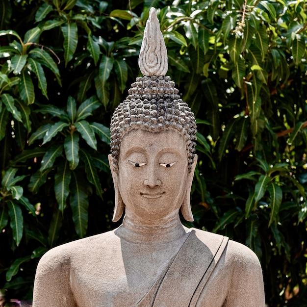 Coup De Mise Au Point Peu Profonde D'une Vieille Statue De Bouddha Photo gratuit