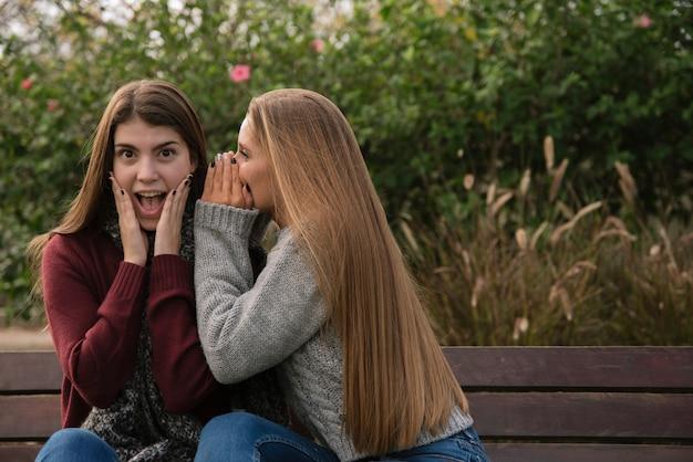 Coup moyen de deux femmes discutant dans le parc Photo gratuit