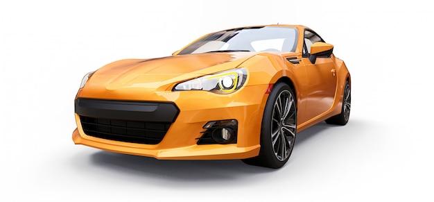 Coupé jaune petite voiture de sport Photo Premium