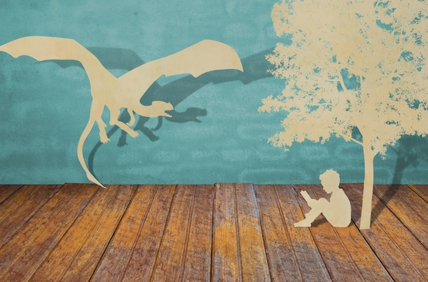 Coupe De Papier D'enfants Lire Un Livre Photo gratuit