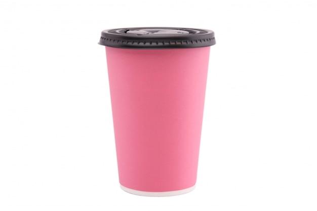 Coupe de papier rose isolé sur fond blanc. Photo Premium