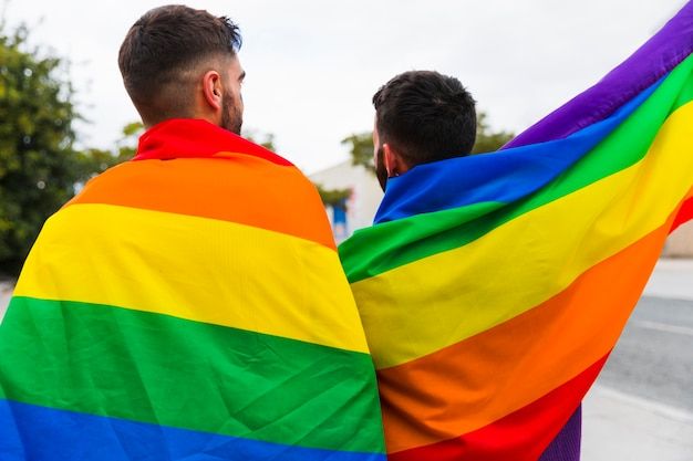 Couple gay enveloppé dans les drapeaux lgbt debout à l'arrière Photo gratuit