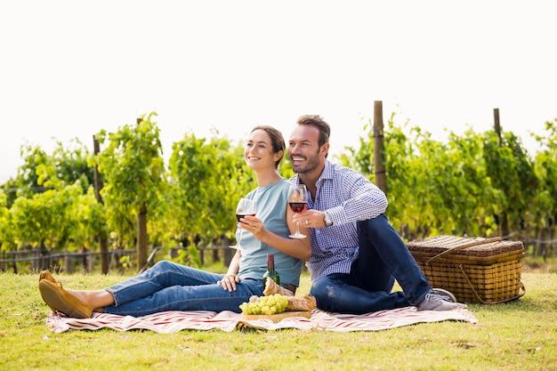 Couple heureux avec des verres à vin assis sur la pelouse Photo Premium