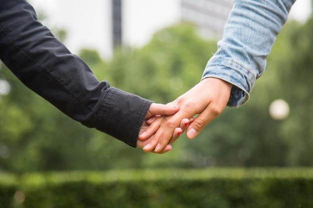 Couple lesbien, tenant mains Photo Premium