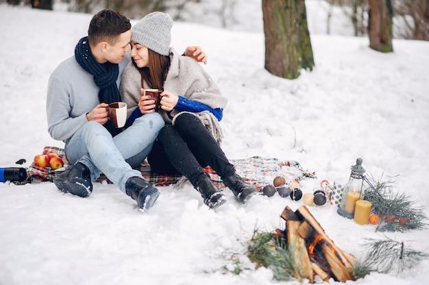 Couple mignon et affectueux dans une forêt d'hiver Photo gratuit