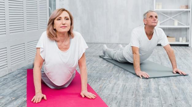 Couple de personnes âgées actif et concentré pratiquant le yoga ensemble Photo gratuit