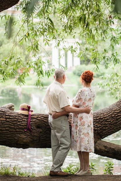 Couple de personnes âgées se promenant dans le parc, amoureux, amour hors du temps, balades estivales Photo Premium