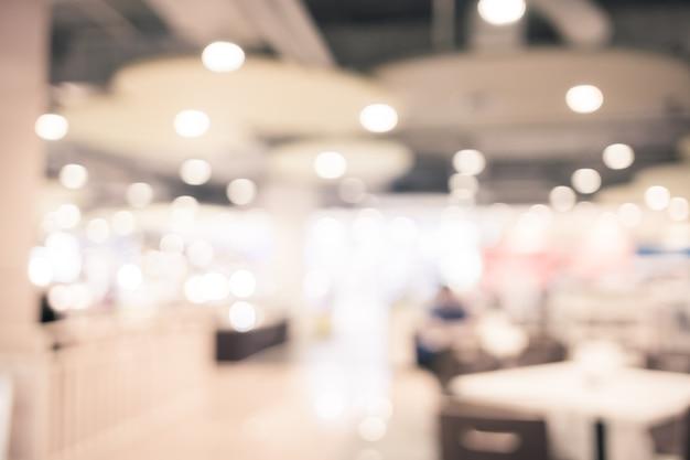 Cour de nourriture floue fond avec bokeh, lumières défocalisés Photo Premium