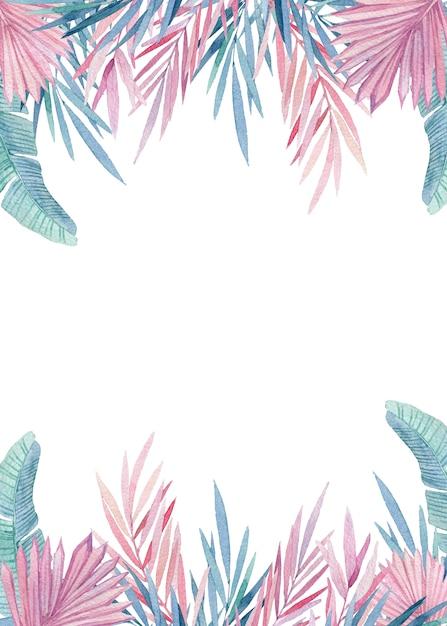 Couronne Aquarelle De Feuilles Tropicales Roses Et Bleues. Cadre Peint à La Main Avec Jungle, Illustrations Aquarelles Botaniques, éléments Floraux, Feuilles De Palmier, Fougère Et Autres. Photo Premium