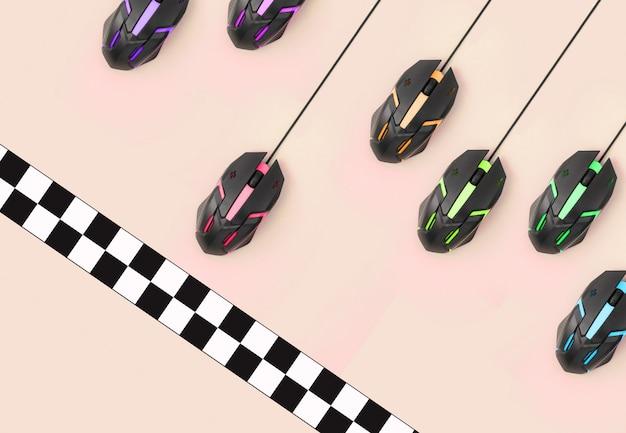 La course sportive entre les souris d'ordinateur franchit la ligne d'arrivée Photo Premium